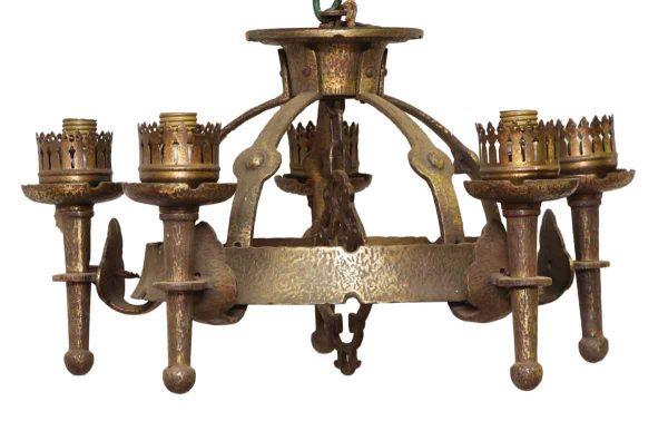 Chandeliers - Antique 5 Light Gothic Torche Iron Chandelier