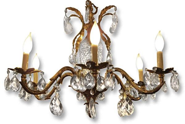 Chandeliers - Antique 6 Light Spanish Brass & Crystal Chandelier