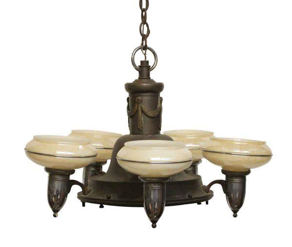 Chandeliers - Antique Art Deco 5 Glass Light Brass Chandelier