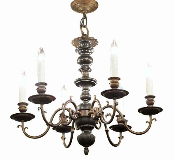 Chandeliers - Antique Colonial 6 Light 2 Tone Bronze Chandelier