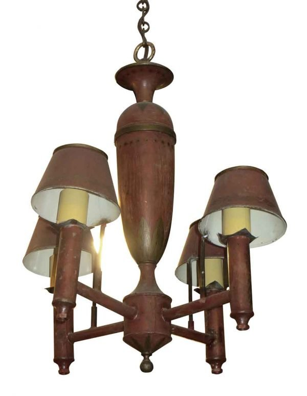 Chandeliers - Antique Colonial Brass 4 Arm Red Chandelier