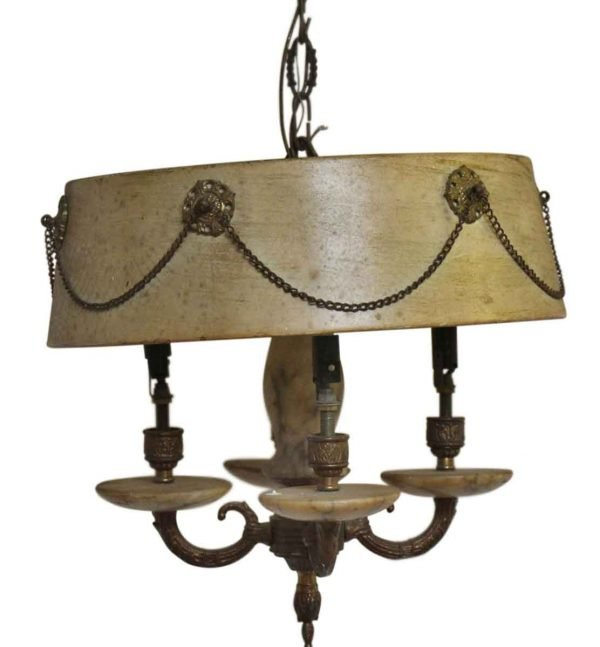 Chandeliers - Antique French 4 Arm Brass Shaded Chandelier