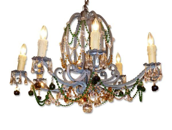 Chandeliers - Antique French Art Nouveau Multi Colored 8 Arm Crystal Chandelier