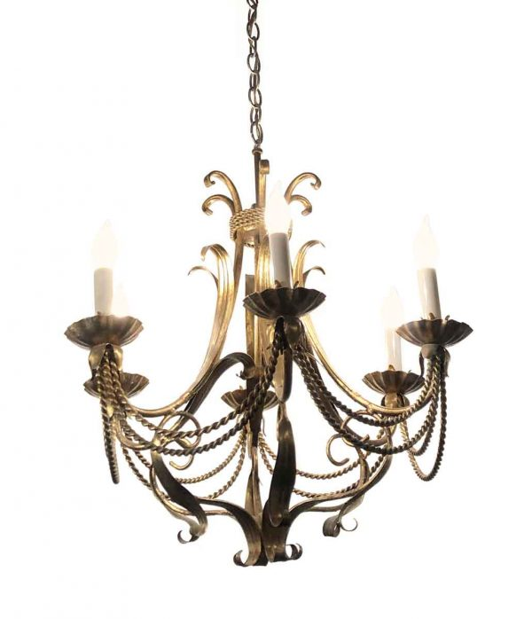 Chandeliers - Antique French Brass Chandelier with 6 Arms