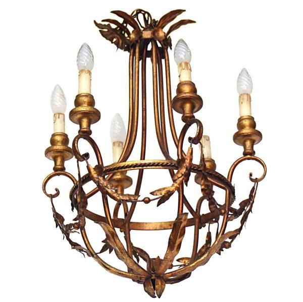 Chandeliers - Antique Italian 6 Light Gold Chandelier
