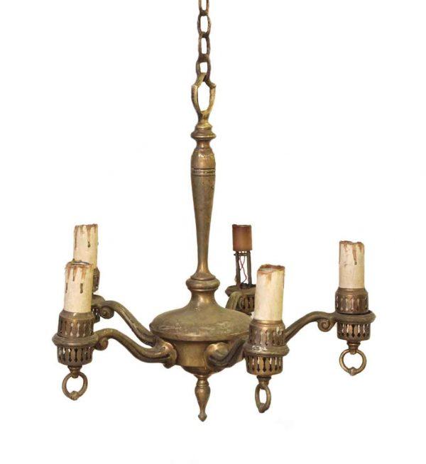 Chandeliers - Antique Traditional Brass 5 Light Chandelier