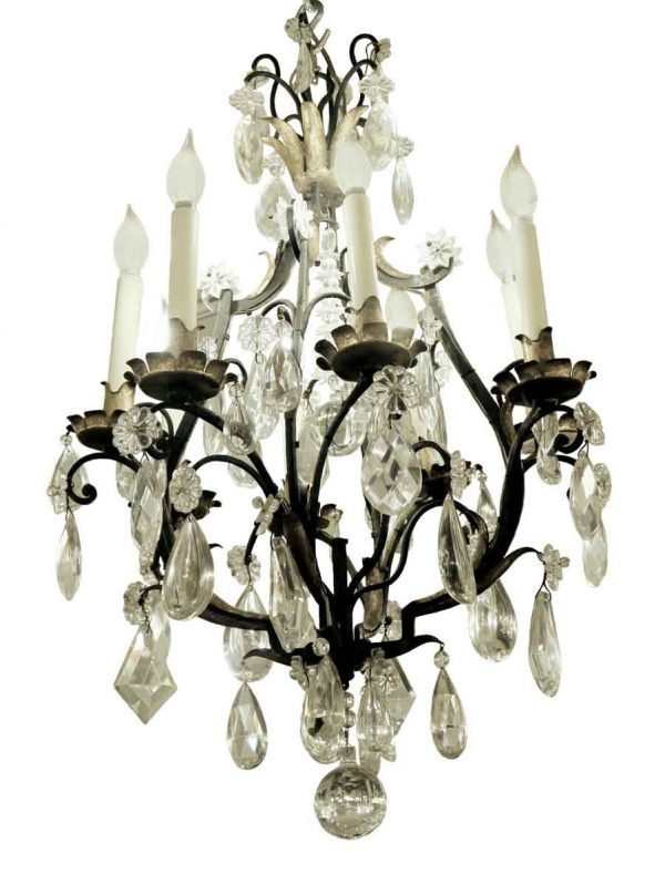 Chandeliers - Antique Venetian Style Iron & Crystal 6 Arm Chandelier