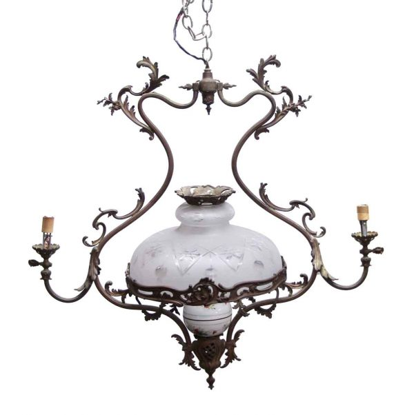 Chandeliers - Antique Victorian 2 Arm Bronze Gas Light