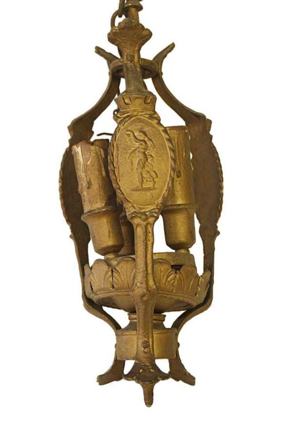 Chandeliers - Antique Victorian Figural Bronze 3 Light Chandelier