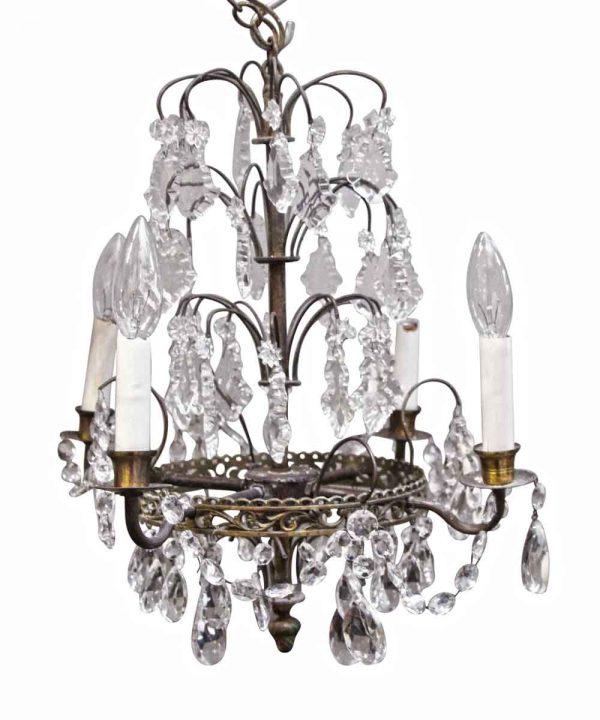 Chandeliers - Art Deco 4 Arm Crystal Chandelier from the Waldorf Astoria