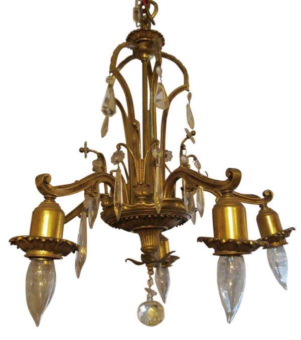 Chandeliers - Art Deco Bronze & Crystal 5 Arm Down Light Chandelier