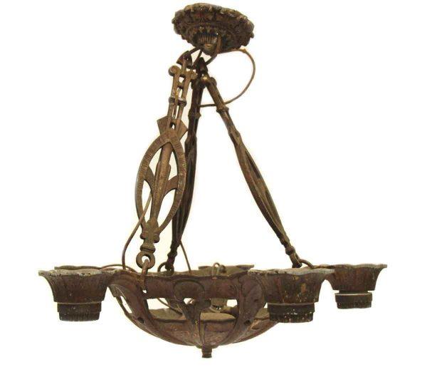 Chandeliers - Arts & Crafts 5 Arm Cast Bronze Chandelier