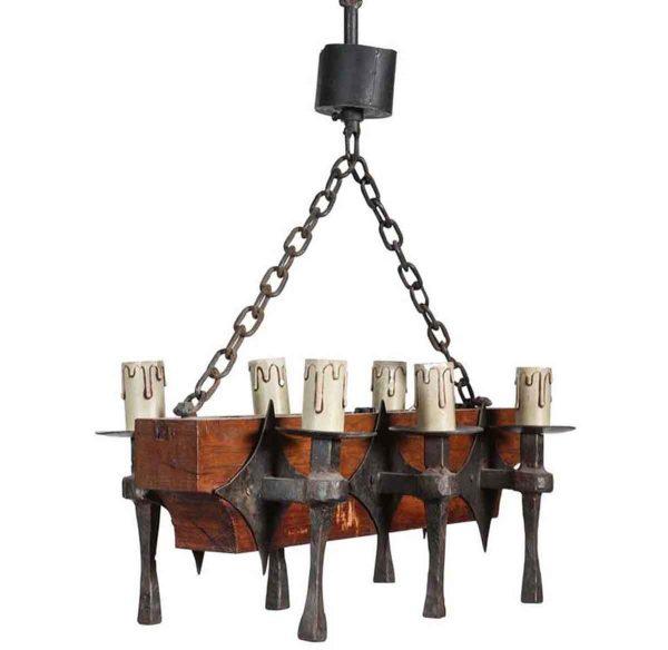 Chandeliers - Colonial 6 Arm Wrought Iron & Oak Chandelier