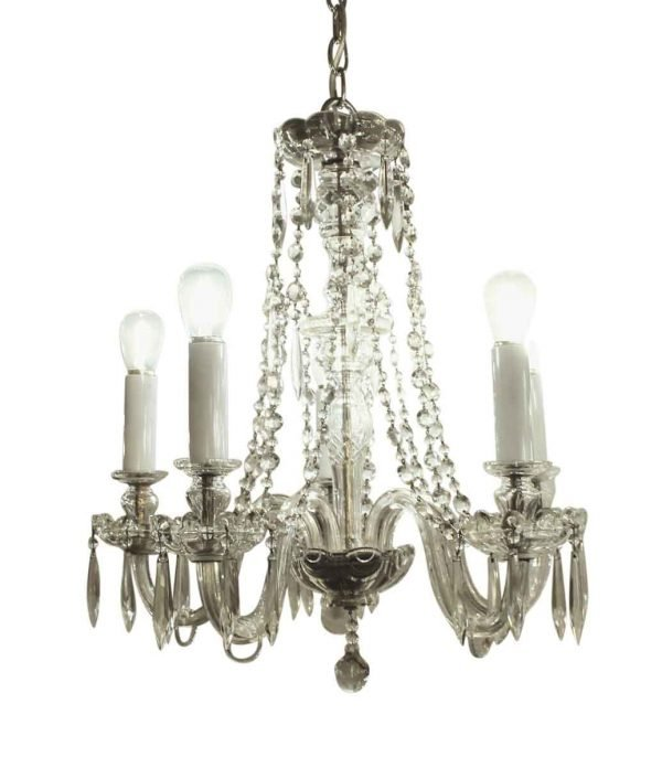 Chandeliers - Five Arm Crystal Chandelier Circa 1920