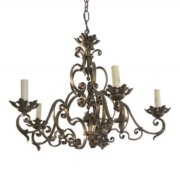 Chandeliers - French 5 Arm Wrought Iron with Copper Finish Chandelier