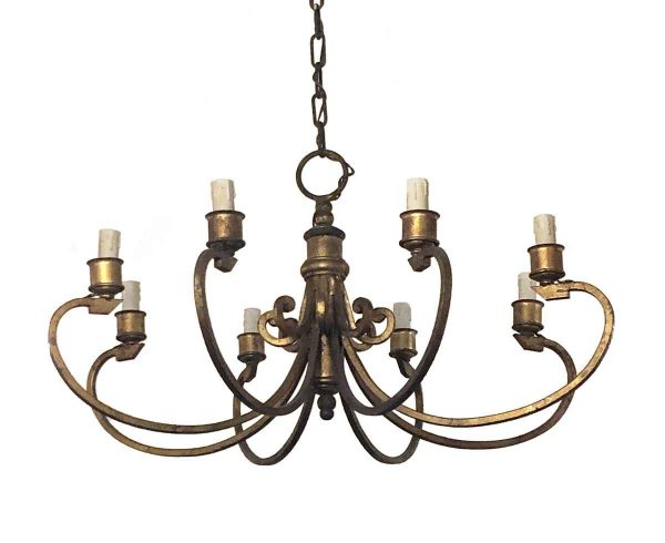 Chandeliers - French Iron 8 Arm Chandelier with Gold Leaf Finish