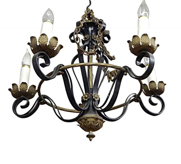 Chandeliers - French Wrought Iron 5 Arm Chandelier