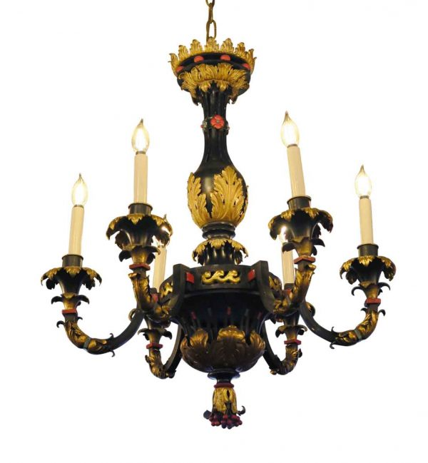 Chandeliers - Hand Painted French 1900s Bronze & Gilt Metal 6 Arm Chandelier