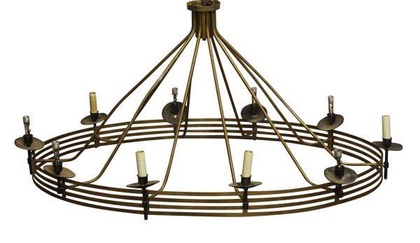 Chandeliers - Large Primitive Oval Brass 10 Arm Chandelier