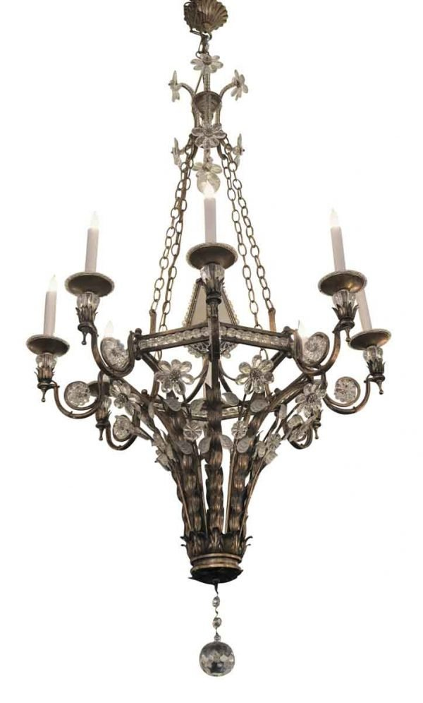 Chandeliers - New French Wrought Iron & Crystal Floral 8 Arm Chandelier