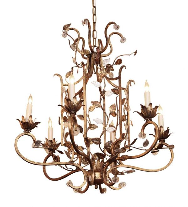 Chandeliers - New Gold Floral Bagues Iron & Crystal 6 Arm Chandelier