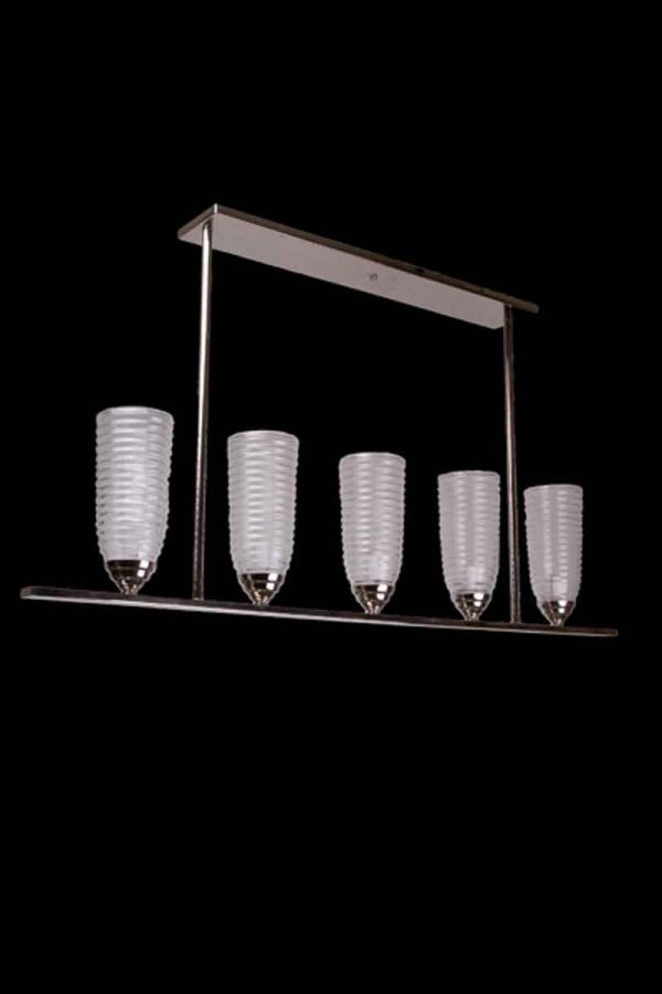 Chandeliers - New Modern 5 Up Light Chandelier with Glass Shades