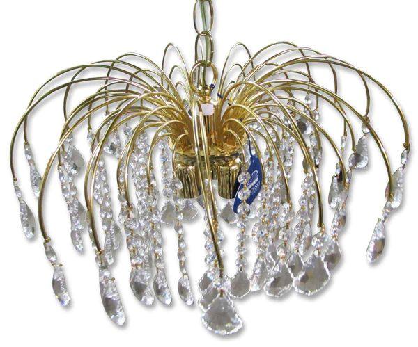 Chandeliers - New Polished Brass & Crystal Waterfall Chandelier