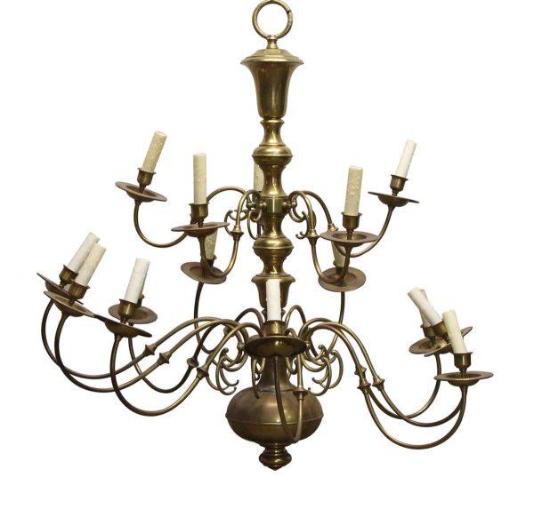 Chandeliers - Oversized Antique Williamsburg 15 Arm Brass Chandelier