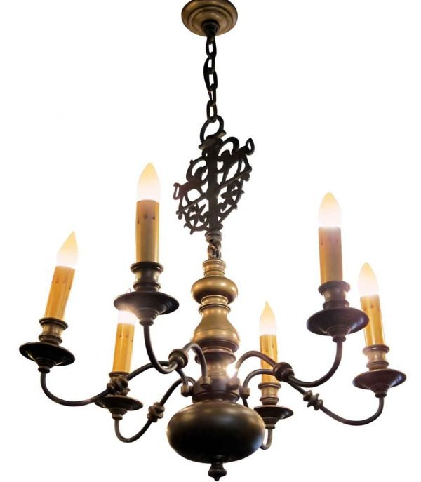 Chandeliers - Pair of Colonial Style E.F. Caldwell 6 Arm Bronze Chandeliers