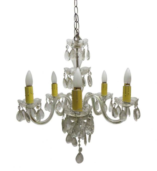 Chandeliers - Petite 1940s Traditional 6 Arm Crystal Chandelier