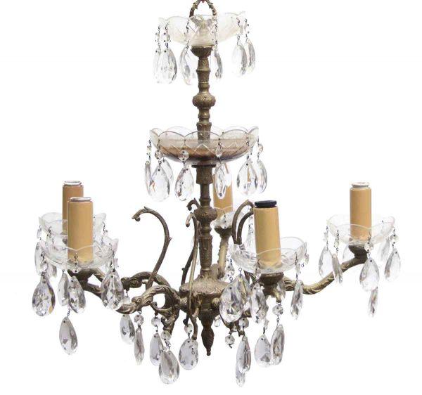 Chandeliers - Petite Bronze & Crystal 5 Arm Spanish Chandelier
