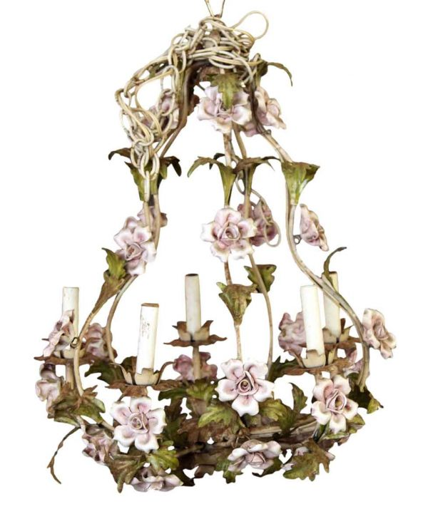 Chandeliers - Shabby Chic Pink Floral 5 Arm Chandelier