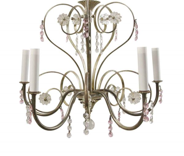 Chandeliers - Traditional Floral 5 Arm Petite Nickel Chandelier