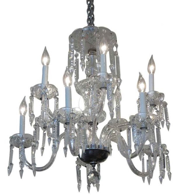 Chandeliers - Traditional Two Tier Etched Crystal Chandelier with 6 Arms