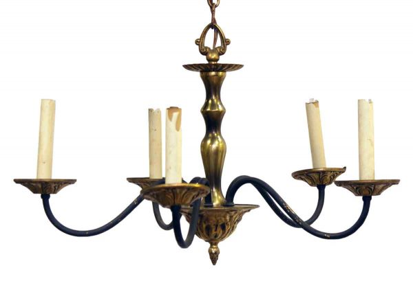 Chandeliers - Victorian 5 Arm Brass Ornate Chandelier with Black Arms