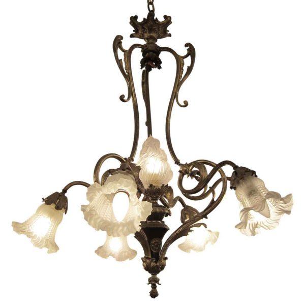 Chandeliers - Victorian 5 Down Light Gilded Dore Bronze Chandelier
