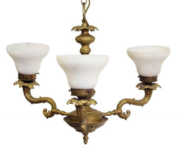 Chandeliers - Victorian Heavy Brass 3 Arm Chandelier with Alabaster Shades