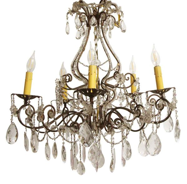 Chandeliers - Victorian Wrought Iron & Crystal 5 Arm Chandelier