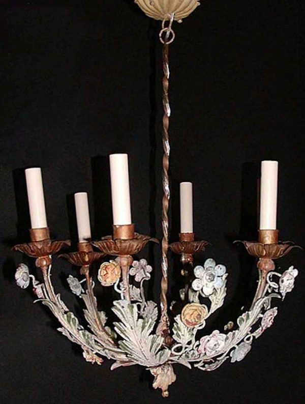Chandeliers - Vintage 1940s French Gilt Metal & Tole 5 Arm Chandelier