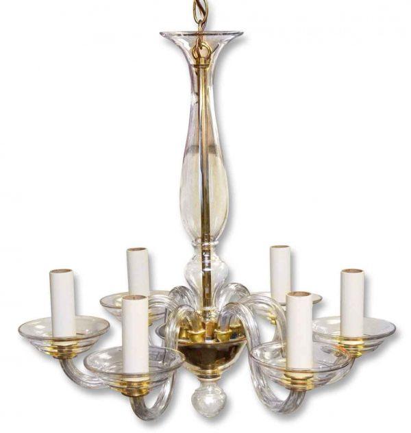 Chandeliers - Vintage 6 Arm Murano Brass & Glass Chandelier