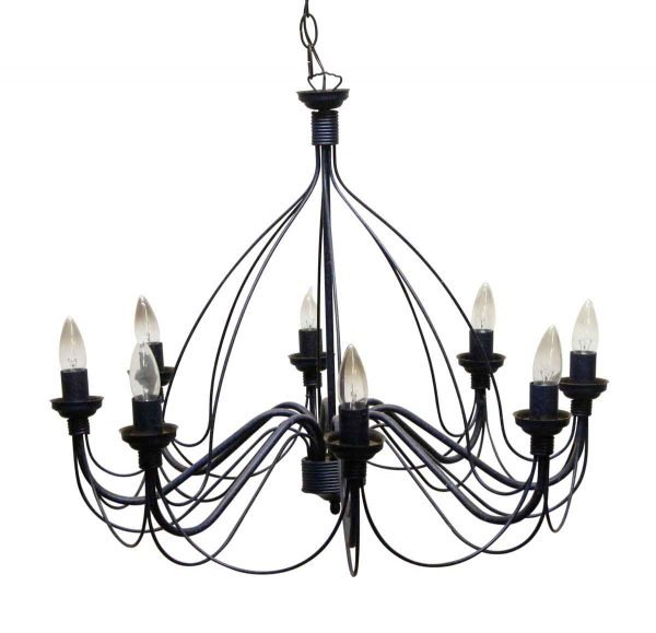 Chandeliers - Vintage 8 Arm Blue & Black Wrought Iron Chandelier