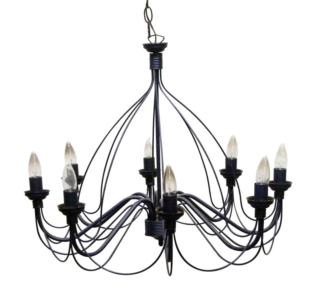 Vintage 8 Arm Blue Black Wrought Iron Chandelier Olde Good Things