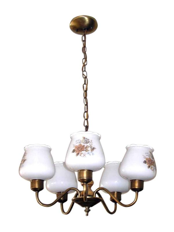 Chandeliers - Vintage Farmhouse 5 Arm Wood Chandelier with Floral Glass Shades