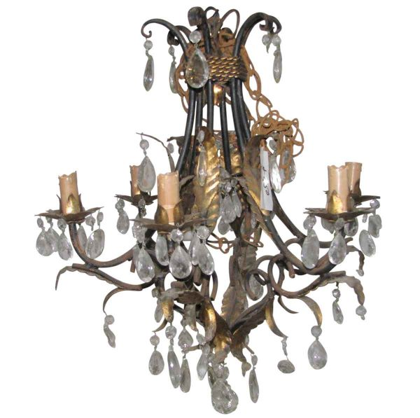 Chandeliers - Vintage French 6 Arm Brass & Crystal Chandelier