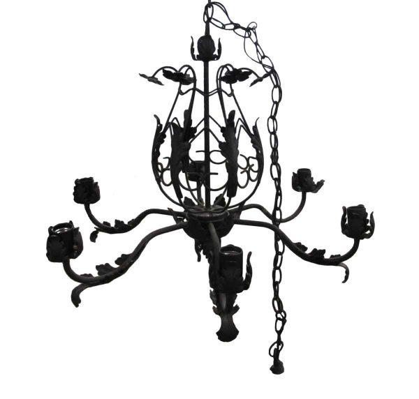 Chandeliers - Vintage French Black Iron Leaf 6 Arm Chandelier