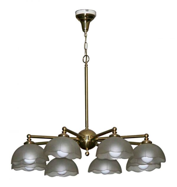 Chandeliers - Vintage Traditional Brass & Glass Parlor 8 Light Chandelier