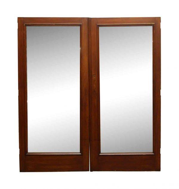 Closet Doors - Vintage Mirrored Mahogany Closet Double Doors 78 x 71.25