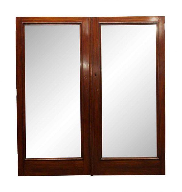 Closet Doors - Vintage Wood Double Mirror Closet Doors 76.375 x 71.75