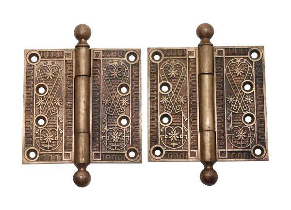 Door Hinges - Antique Victorian 4 x 4 Bronze Pair of Door Hinges