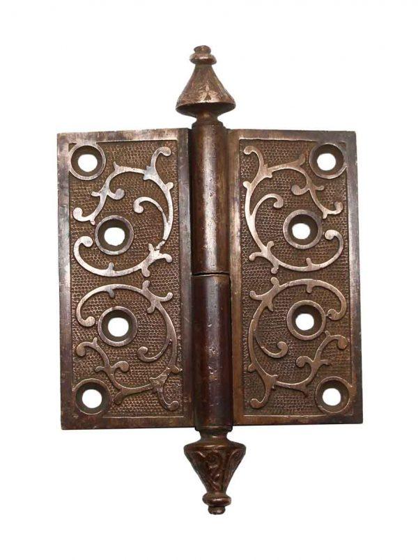 Door Hinges - Ornate Left Hand Bronze 4 x 4 Butt Antique Door Hinge